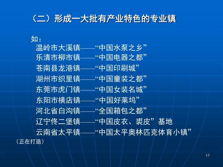 (二)形成一大批有产业特色的专业镇