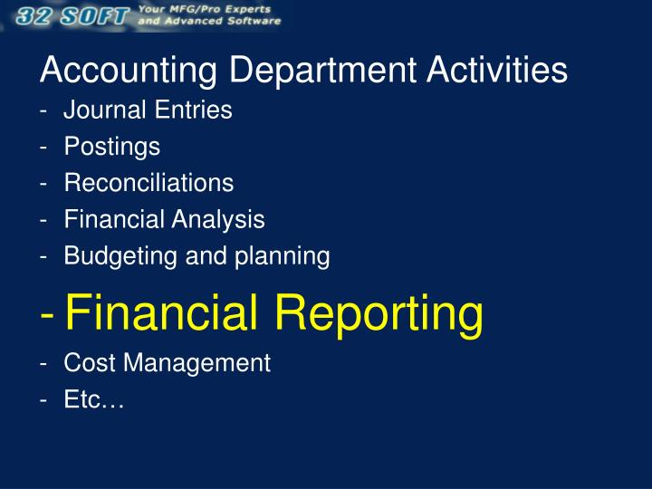 Accounting Department Activities