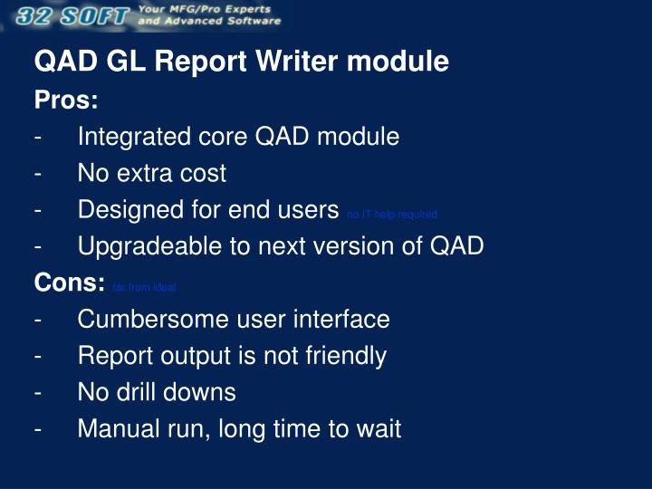 QAD GL Report Writer module