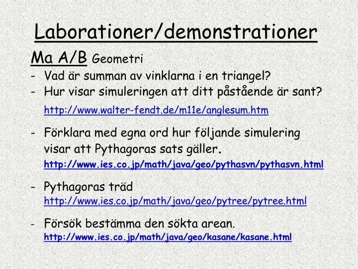 Laborationer demonstrationer