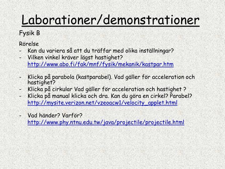 Laborationer/demonstrationer