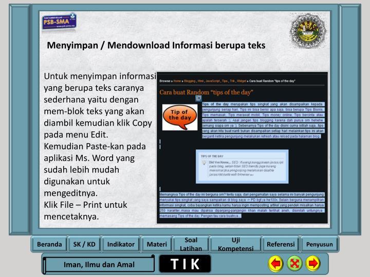 Menyimpan / Mendownload Informasi berupa teks