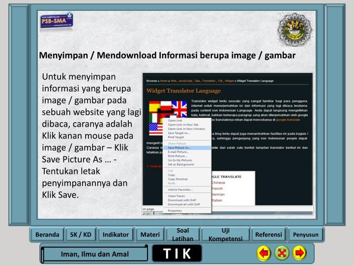 Menyimpan / Mendownload Informasi berupa image /