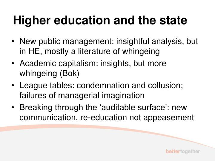 Higher education and the state