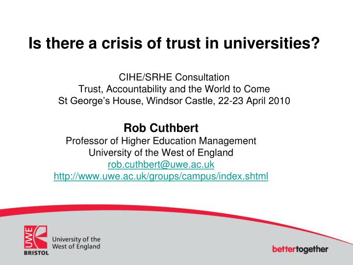Is there a crisis of trust in universities?