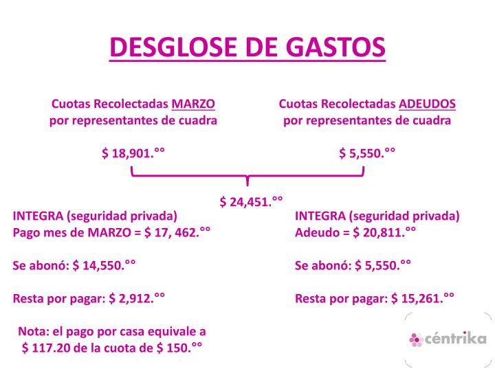 DESGLOSE DE GASTOS