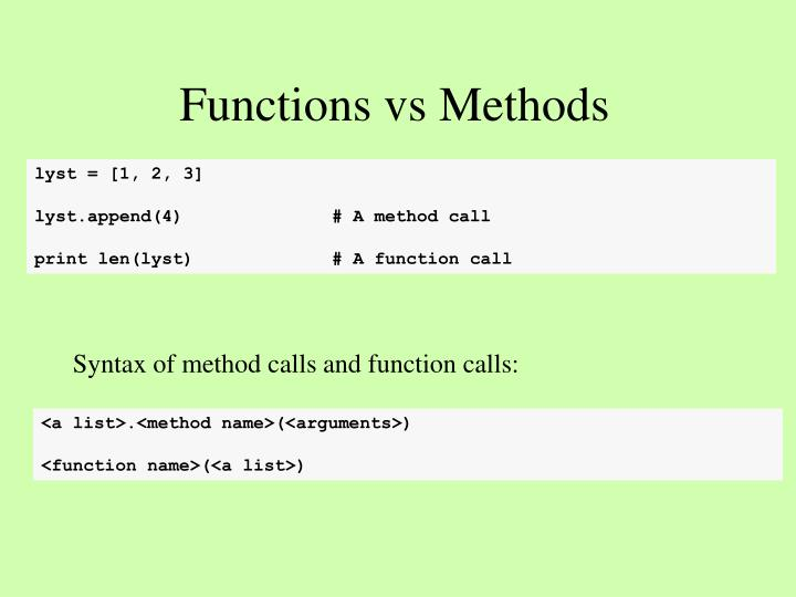 Functions vs Methods