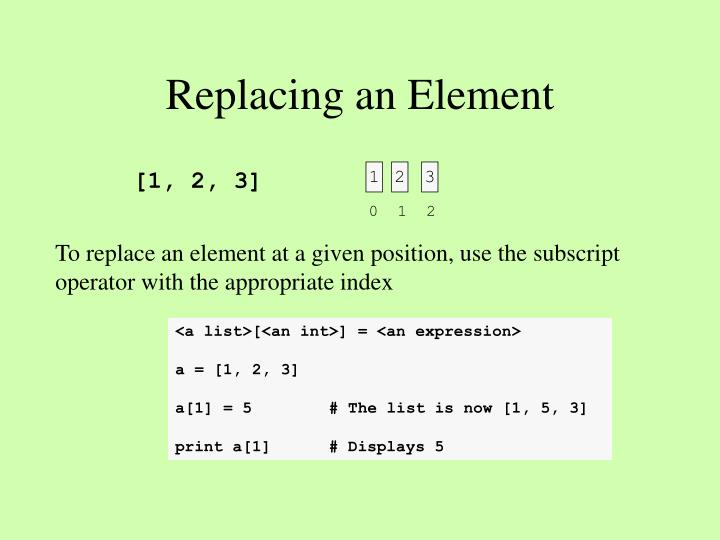 Replacing an Element