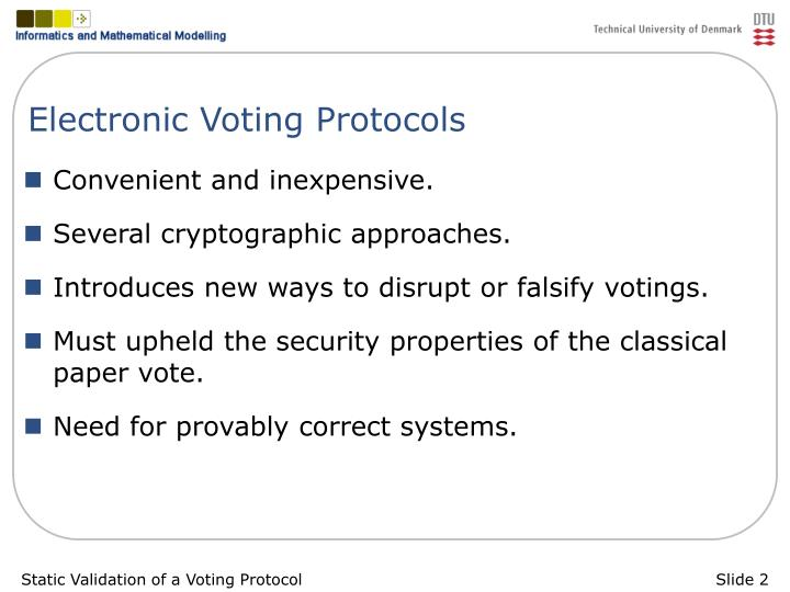 Electronic voting protocols