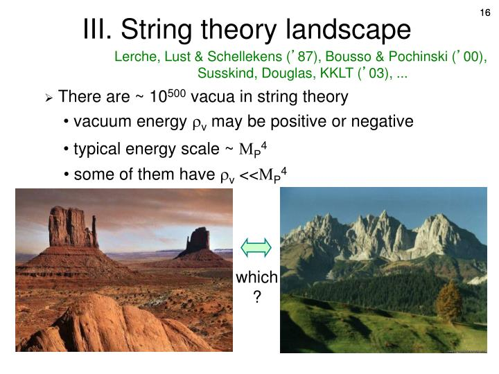 III. String theory landscape