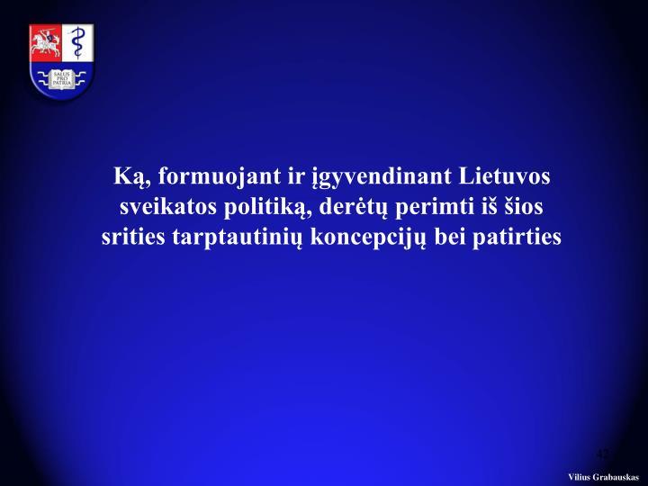 Ką, formuojant ir įgyvendinant Lietuvos sveikatos politiką, derėtų perimti iš šios srities tarptautinių koncepcijų bei patirties