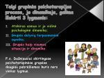 taigi grupin s psichoterapijos procese jo dinamikoje galima i skirti 3 lygmenis