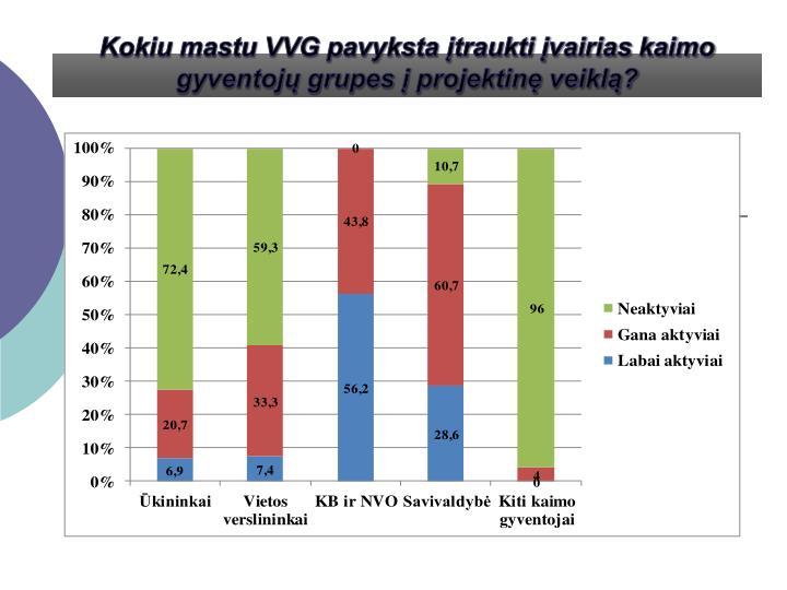 Kokiu mastu VVG pavyksta įtraukti įvairias kaimo gyventojų grupes į projektinę veiklą?