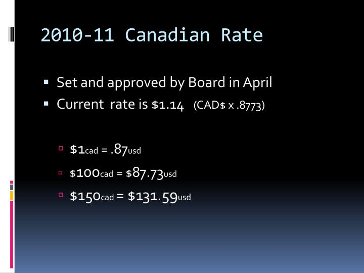2010-11 Canadian Rate