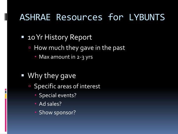ASHRAE Resources for LYBUNTS