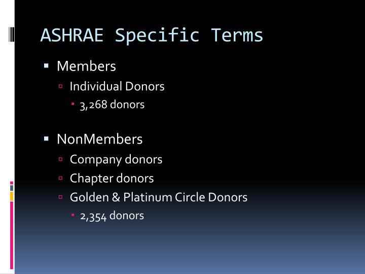 ASHRAE Specific Terms