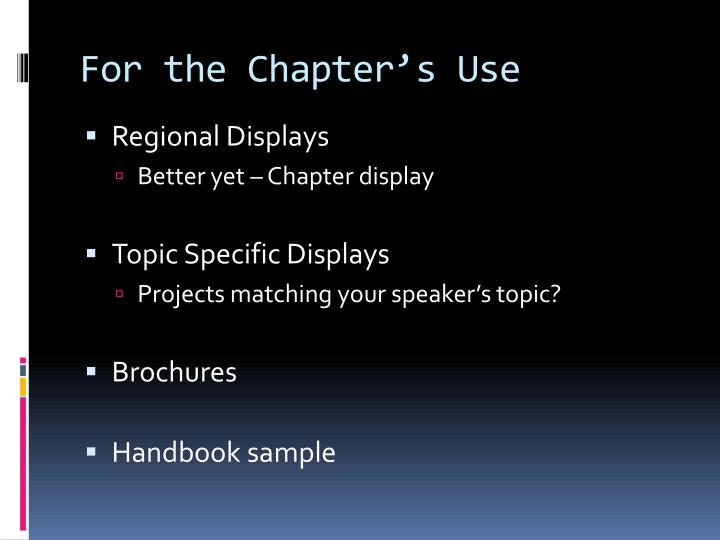 For the Chapter's Use