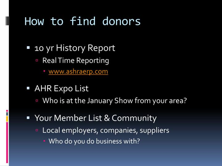 How to find donors