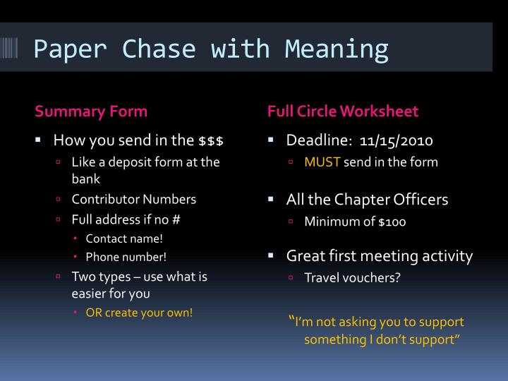Paper Chase with Meaning