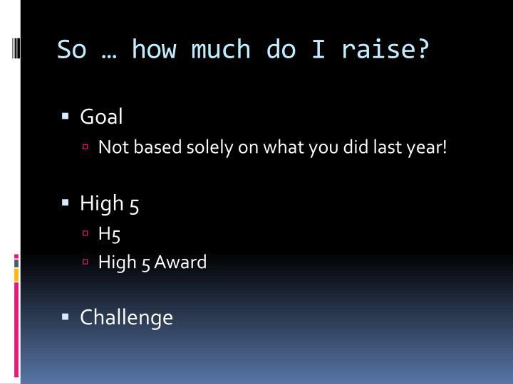 So … how much do I raise?