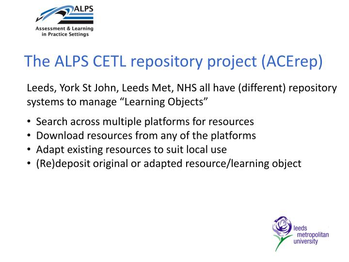 The ALPS CETL repository project (