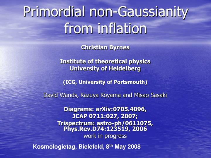 Primordial non gaussianity from inflation