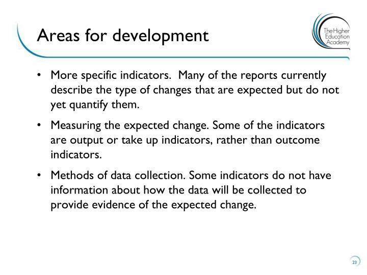 Areas for development