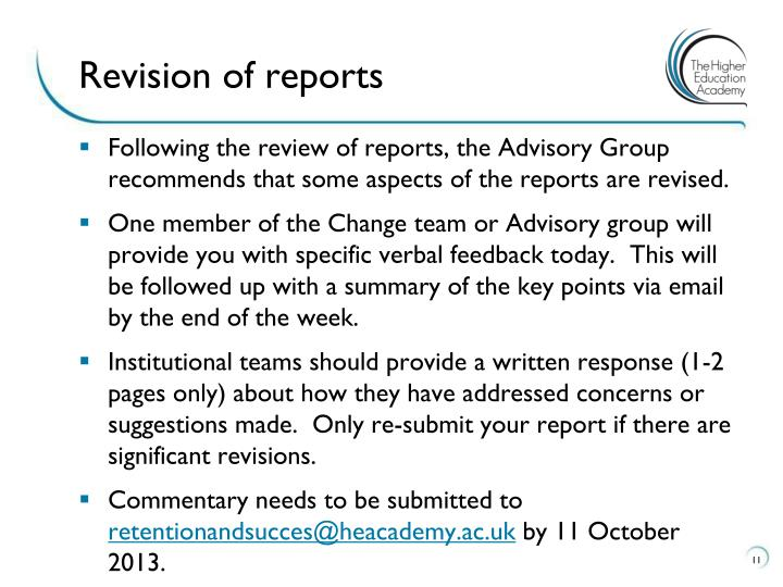 Revision of reports