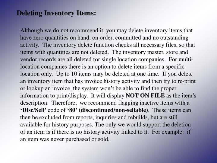 Deleting Inventory Items: