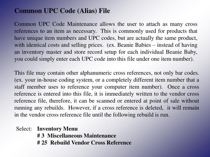 Common UPC Code (Alias) File