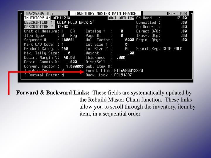 Forward & Backward Links: