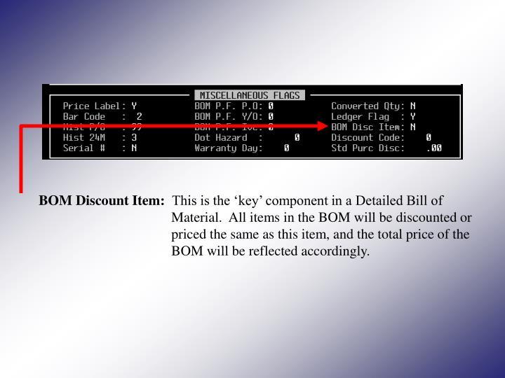 BOM Discount Item:
