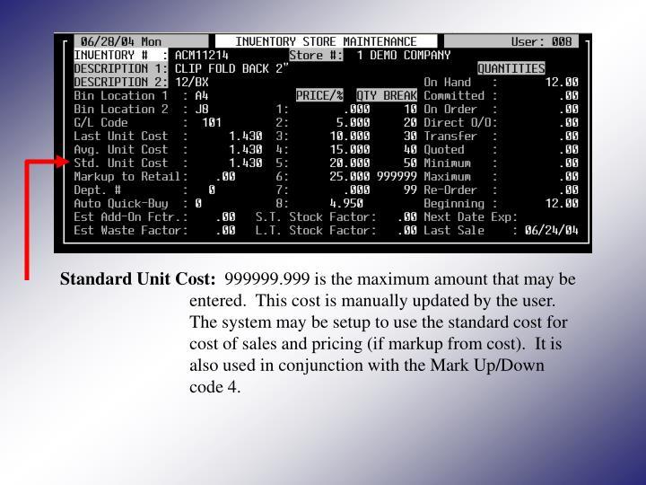 Standard Unit Cost: