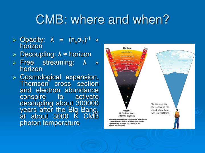 CMB: where and when?