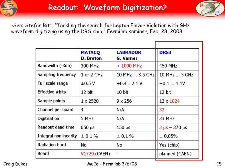 Readout:  Waveform Digitization?