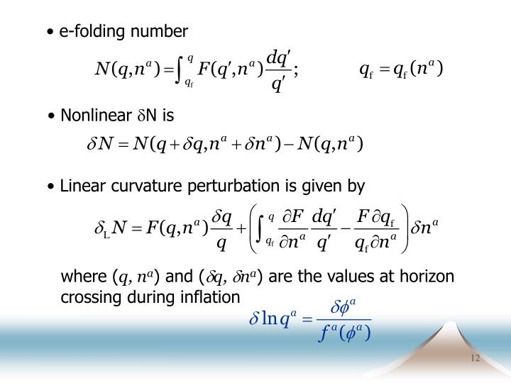 e-folding number