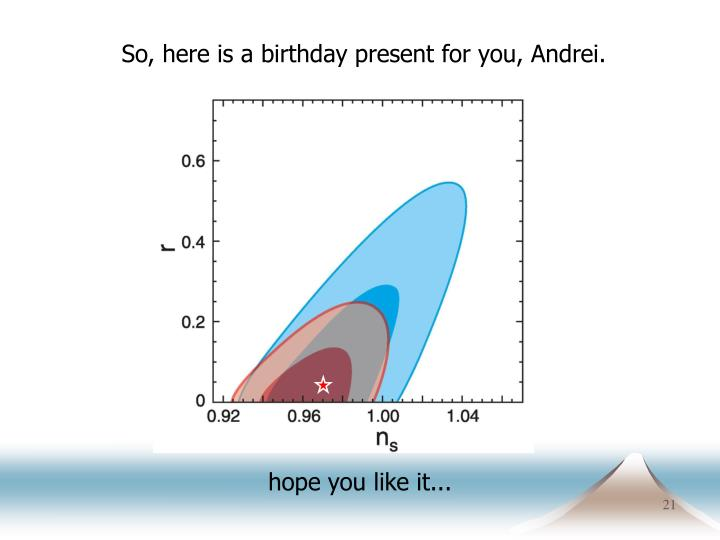 So, here is a birthday present for you, Andrei.