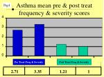 asthma mean pre post treat frequency severity scores