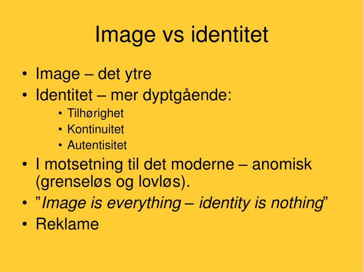Image vs identitet