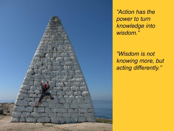 """Action has the power to turn knowledge into wisdom."""