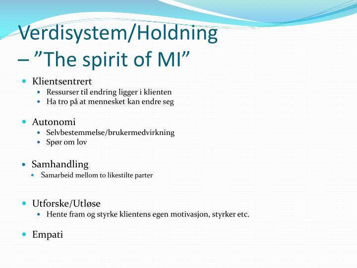 Verdisystem/Holdning