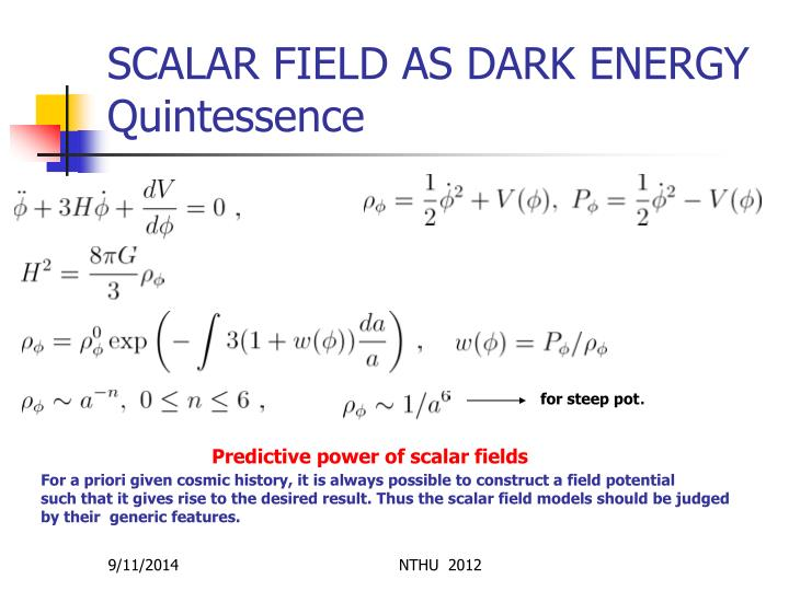 SCALAR FIELD AS DARK ENERGY