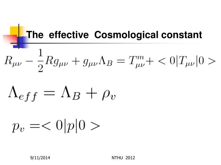 The  effective  Cosmological constant