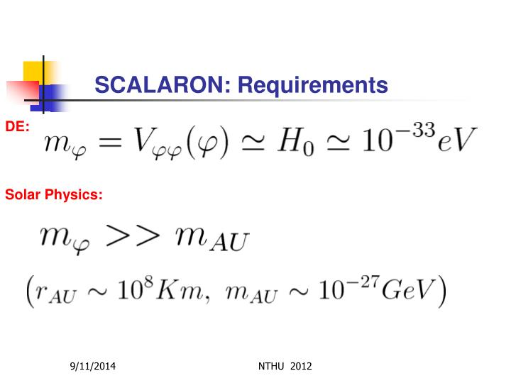 SCALARON: Requirements