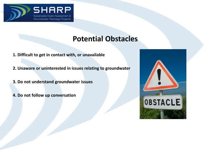 Potential Obstacles