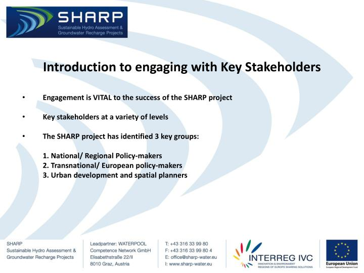 Introduction to engaging with Key Stakeholders