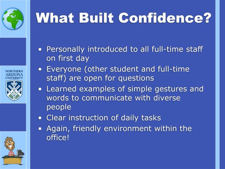 What Built Confidence?
