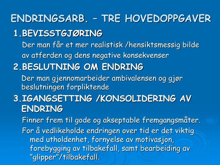 ENDRINGSARB. – TRE HOVEDOPPGAVER
