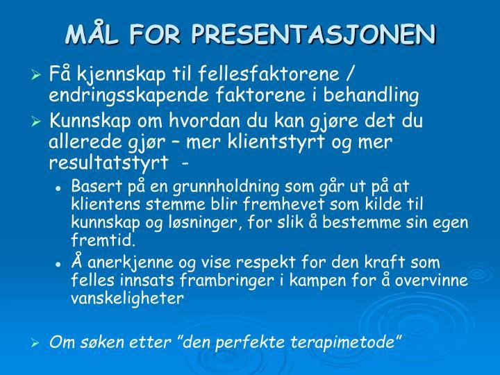 M l for presentasjonen