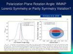 polarization plane rotation angle wmap lorentz symmetry or parity symmetry violation